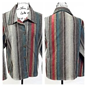 Winding River Multi-Color Stripe Button Up Jacket